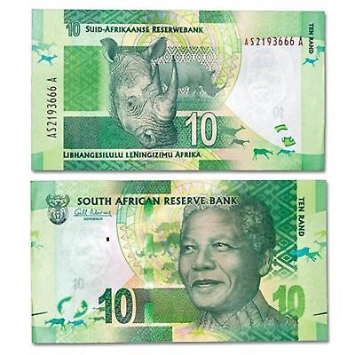 South Africa 10 Rand P138 2014 Nelson Mandela Rhino Unc Currency Money Bill Note