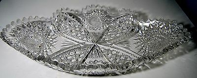 American Brilliant Cut Glass Ice Cream Tray Platter 14x7.5 Excellent Condition