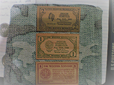Syr,NY Centennial Celebration Flat Wood Nickle 3 Piece Set 1, 2 & 5 Denomination
