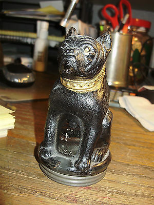 Black Painted Bulldog Pressed Glass Candy Container Var A   C.1930-1932