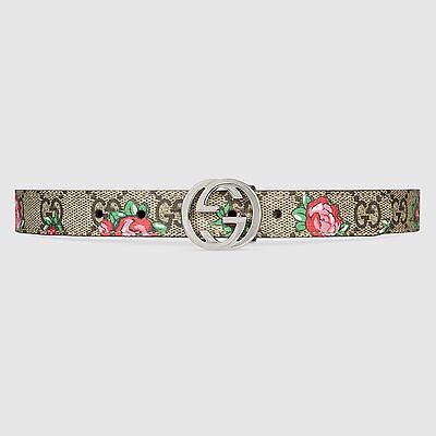 NWT NEW Gucci girls GG rose bud belt beige ebony S 258395 9770
