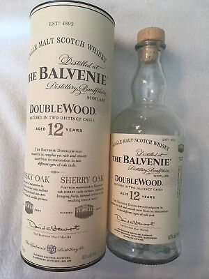 The Balvenie 12 Double Wood Single Malt Scotch Empty Bottle 750 ml w/ Container
