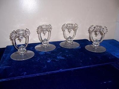 Four Glass Crystal Single Light Candlesticks Candle Holders Leaf Etched Base