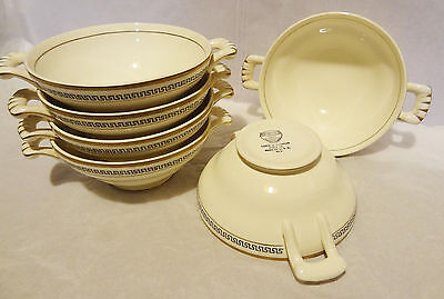 6- Edwin M Knowles. Semi Vitreous, Handled Soup Bowls, Gold Trim On Cream