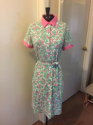 Vintage The Lilly, Lilly Pulitzer Inc. SS Floral Shirt Dress W/ Belted Waist
