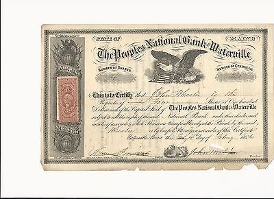 RARE Peoples National Bank Waterville ME 1866