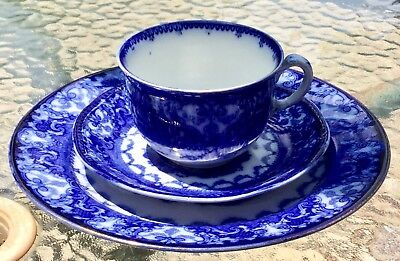 Flow Blue Trio Watteau Royal Doulton Plate & New Wharf Pottery Nwp Cup & Saucer