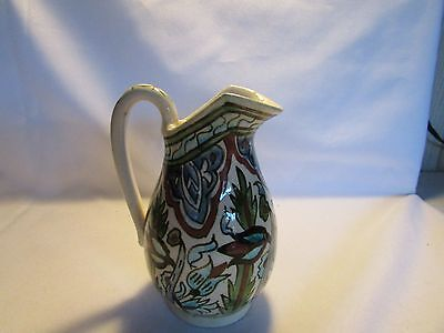 Vintage Hand Painted MOROCCAN Ewer Or Creamer Or Jug Glazed Earthenware