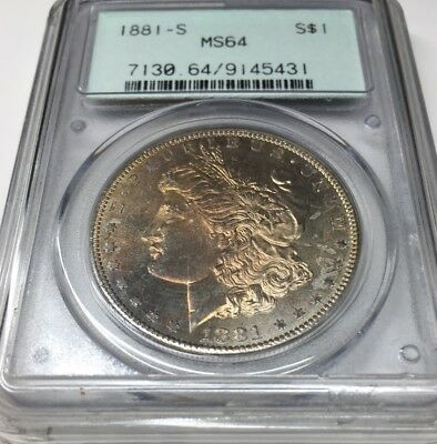 1881-S Morgan Silver Dollar PCGS MS64 TONED