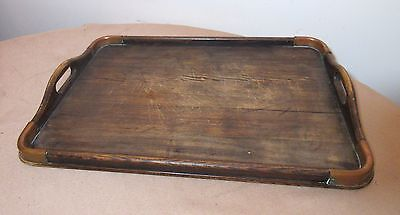 large 1800's handmade antique wood hammered copper serving platter tray dish .