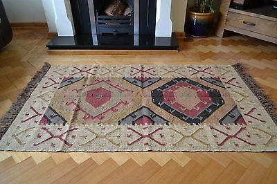 Indian Kilim Rug Jute Wool Hand Knotted Hexagon Geometric 180x240cm 6x8ft