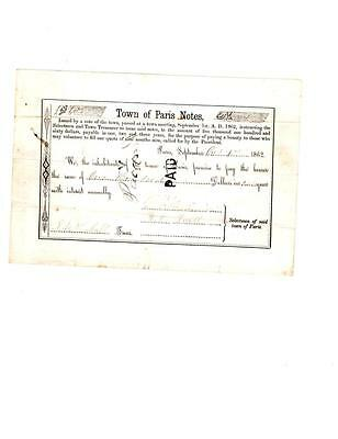 RARE Town of Paris Note $100 1862 Civi War Volunteer Bounty 146th NY Infantry