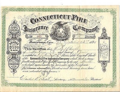 Connecticut Fire Insurance CT 1874 Stock