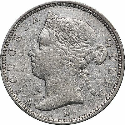 1882-H Straits Settlement 20 Cents, XF Details, Cleaned