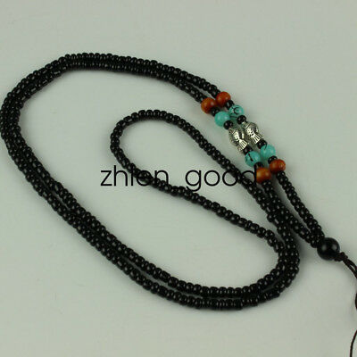 Chinese Obsidian hand woven pendant fish Beads necklace Accessories