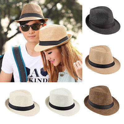 NICE Fedora Trilby Hat Cap Straw Panama Style Packable Travel Sun Hat lot M#