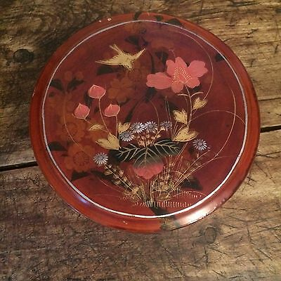 Japanese Vintage Red Lacquer Round Trinket Box