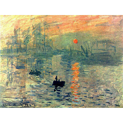 Monet Painting Repro Canvas Print Home Decor Wall Art Abstract Sunrise Framed