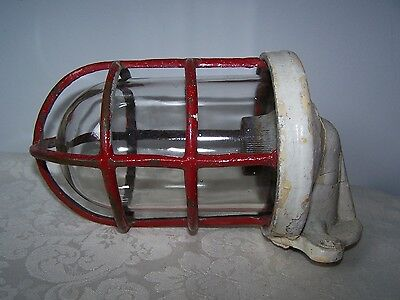 Vintage Nautical Ships Brass Cage Light With Glass Shade - Marelco Ap4254