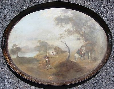 """LARGE 18th CENTURY ANTIQUE EARLY AMERICAN TOLE PAINTED TIN TRAY W/ STAND 28""""X22"""""""