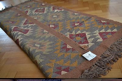 Kilim Rug Indian Jute Wool Hand Knotted Diamond Geometric Various Sizes