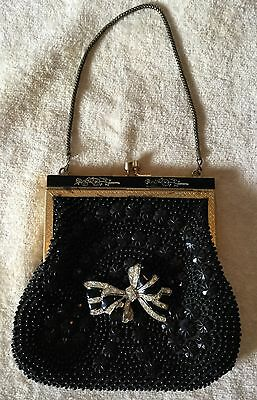 Vintage 30s 40s Deco Black Beaded Evening Bag Purse with Rhinestone Ribbon Pin!