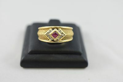 Ring Ladies 18ct Yellow Gold Ruby And Diamond Set Ring