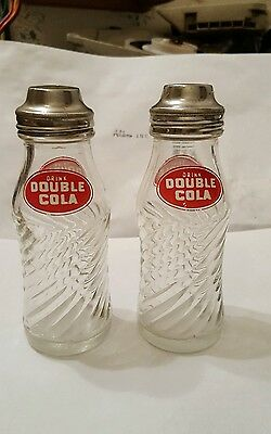 2 Vintage Double Cola Salt & Pepper Shakers  pour tops 5 inches tall