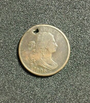 1808 Copper Draped Bust Half Cent, No Reserve, Holed, Beautiful Details & Color