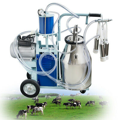 Electric Milking Machine Milker For Cow 25L Stainless Steel Bucket 10-12Cow/Hour
