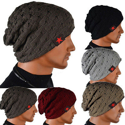 Unisex Mens Beanie Cap Wool Knit Baggy Loose Oversized Slouchy Winter Warm Hat