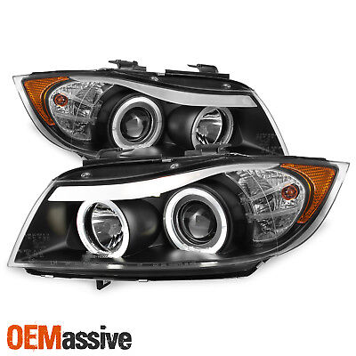 Fit 2006-2008 BMW E90 3-Series 4Door Black Halo LED Projector Eye LId Headlights