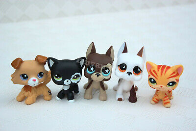 5 PCS LPS Toys Littlest Pet Shop Great Dane Dog Collie puppy Short Hair Cat Rare