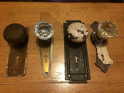 Lot of 4 Shabby Chic Antique Glass Door Knobs Face Plates