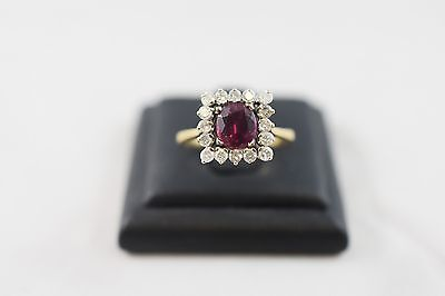 Ring Ladies 18ct Yellow Gold Ruby And Diamond Cluster Ring