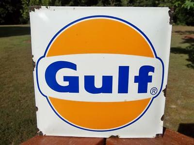 Gulf Porcelain Advertising Sign Oil & Gas Sign Gas Station Pump Plate