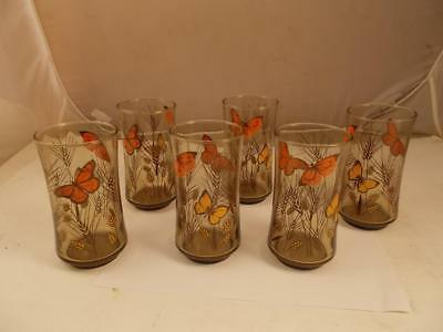 Set Of 6 Vintage Libbey Monarch Butterfly Tumblers Glasses