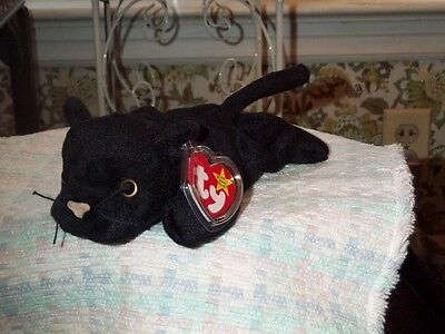 """TY Beanie Baby Babies Cat Velvet Panther 12-16-1995 retired mint tags 9"""" Long"""