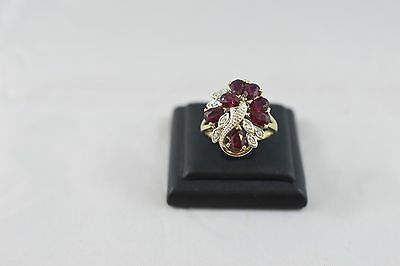 Ring Ladies 9ct Yellow Gold Ruby And Diamond Cluster Set Ring