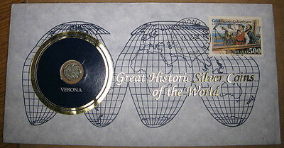 Italy, Postal Cover1992 Great Historic Silver Coins of the World w/Medieval Coin