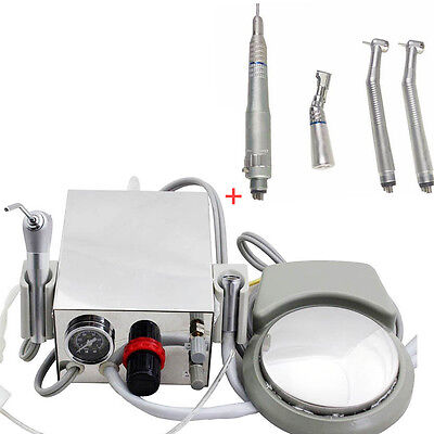 Dental Air Turbine Unit+High Low Speed Handpiece 4 Hole Contra Angle Air Motor