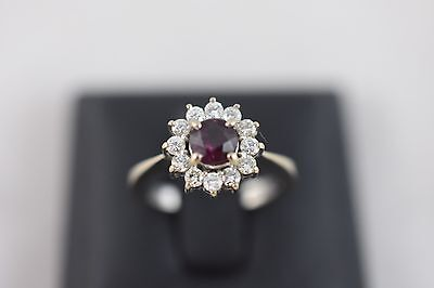 Ring Ladies 18ct White Gold Ruby And Diamond Cluster Dress Ring