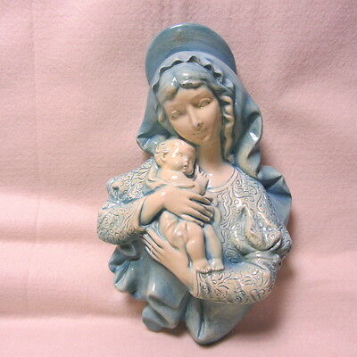 "Vintage Chalkware Wall Hanging Figurine of Mary & Baby Jesus 12"" Tall"