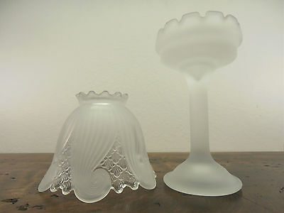 Partylite Clairmont Tealight Candle Holder Lamp Shade Base Frosted Glass