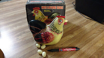 Vintage Tin Mechanical Battery Operated Hen Chicken Laying Eggs China