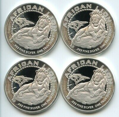 4 Count Lot of 2017 Niue Silver African Lion $2 .999 1 oz. GEM BU Coins