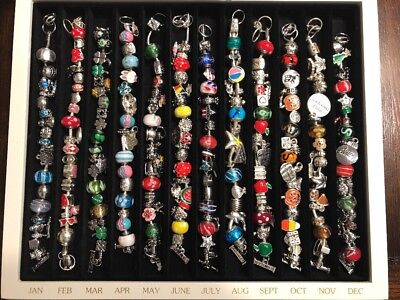 Willabee and Ward 12 Month Charm Bracelet Set with Display Case