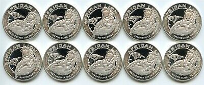 10 Count Lot of 2017 Niue Silver African Lion $2 .999 1 oz. GEM BU Coins