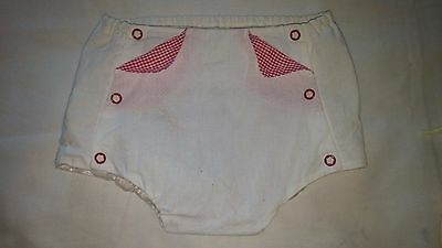 So Cute True Vintage Baby Diaper Cover Gigham Detail & Lined In Plastic