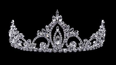 Rhinestone tiara - 2 3/8 inches - crystals & silver-plated metal - combs